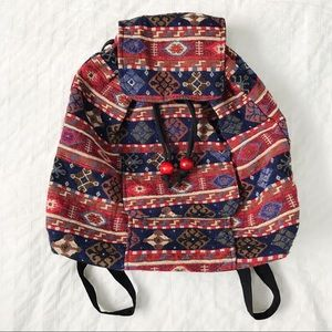 Handmade patterned small backpack